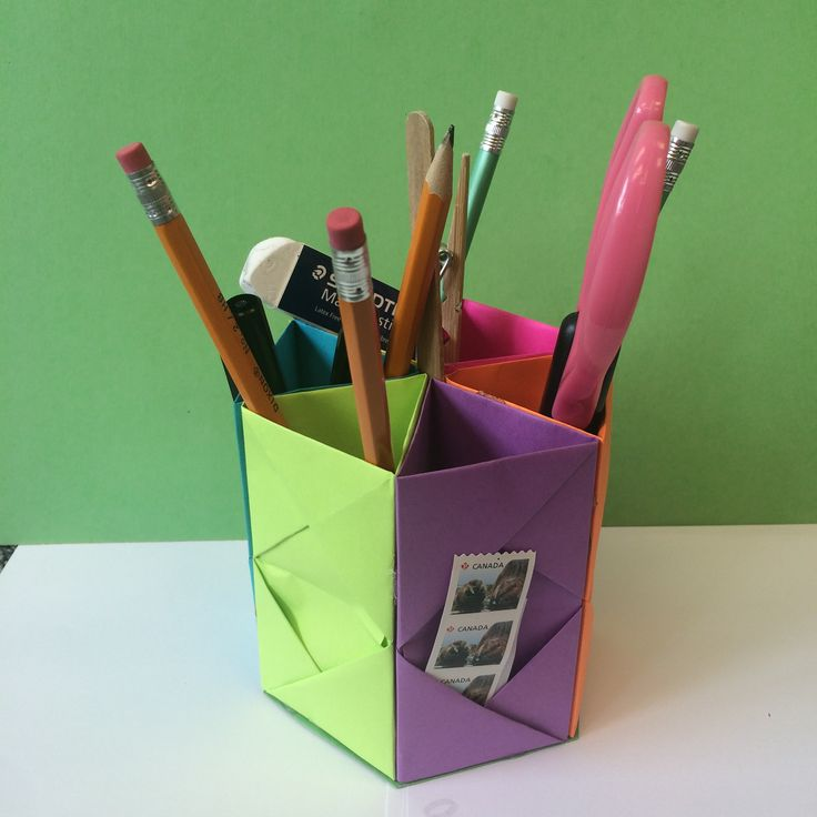 origami hexagon pencil holder instructions
