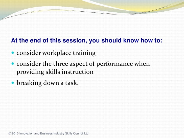 taedel301a provide work skill instruction
