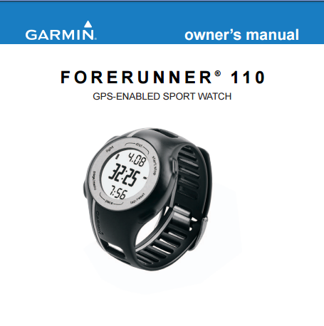 garmin forerunner 110 instructions