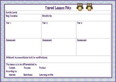 differentiated instruction lesson plan template pdf