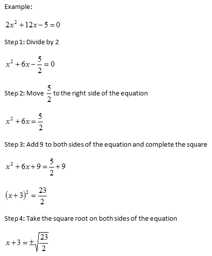 completing the square instructions