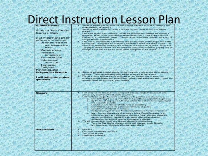 direct instruction lesson plan