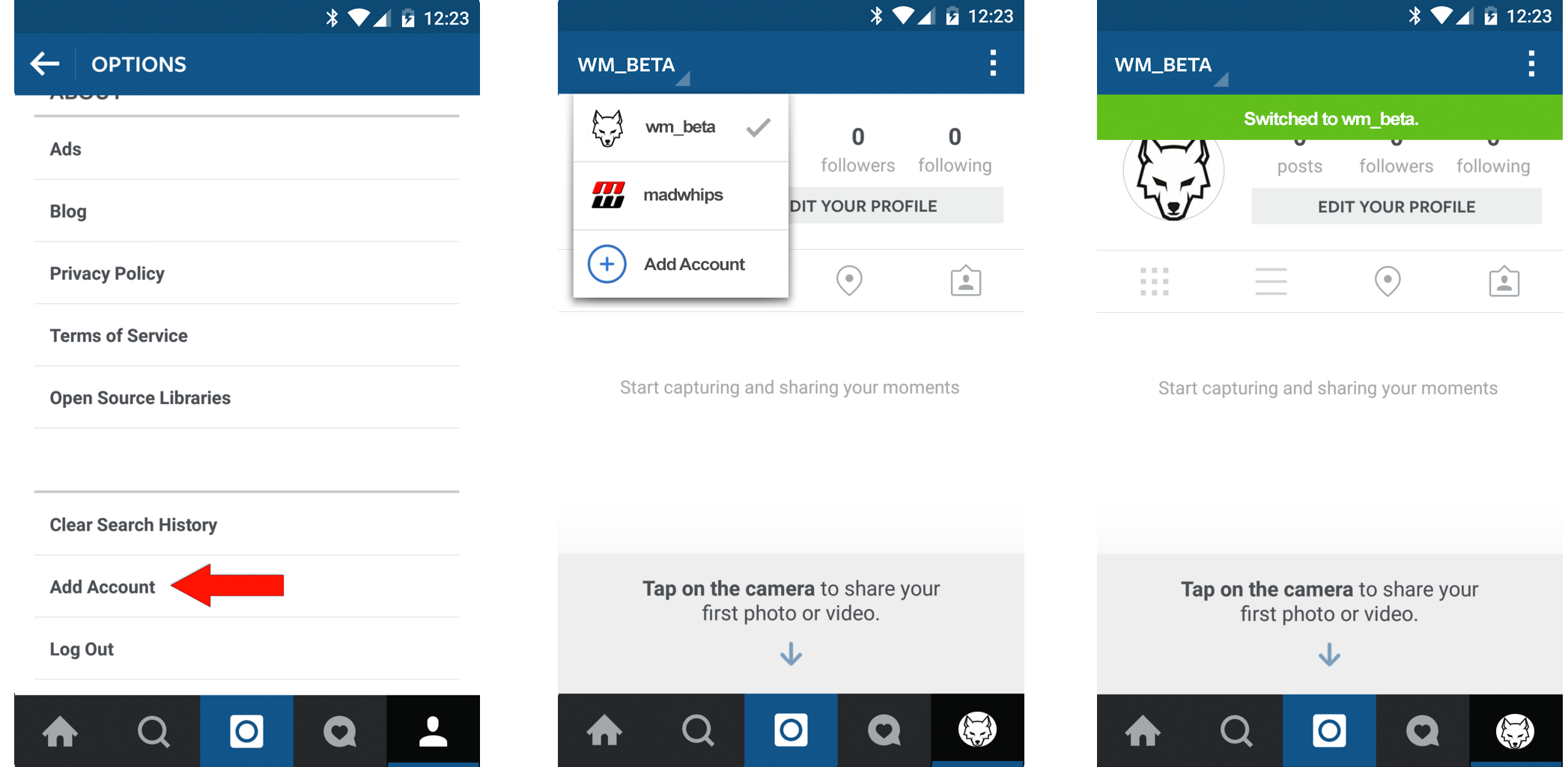instagram instructions for android